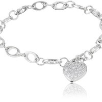 "Sterling Silver Pave Cubic Zirconia Heart Charm Bracelet, 7.25"" (0.59  cttw)"