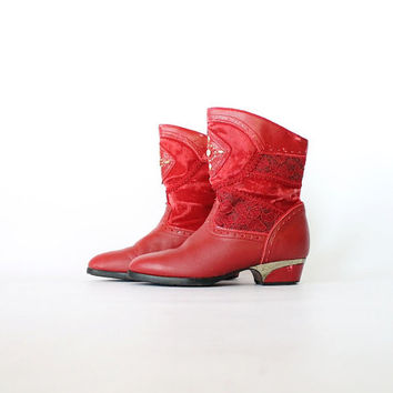 Vintage 80s Red Patchwork Gypsy Boots // Gems & Velvet Boho Ankle Booties