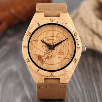 Natural Mens Wooden Wrist Watch Casual Dress Style Engraved Fish Handicraft Dial Light Bamboo