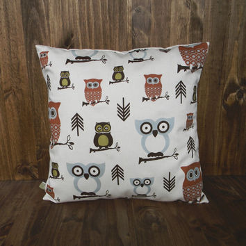 Rustic Owls 16 x 16 Pillow Cover, houswarming gift, cushion cover, kids bedroom