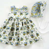 6 month to 9 month blue floral baby dress infant outfit with matching baby bonnet baby girl sunbonnet sun bonnet yellow baby summer outfit