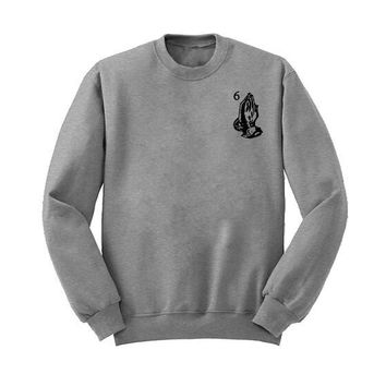 Woe Prayer Gesture Simple Sweater 12756