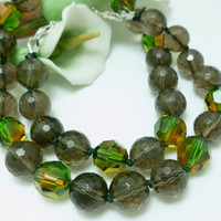 Smoky Quartz Faceted Gemstone Beaded Necklace 18 inch