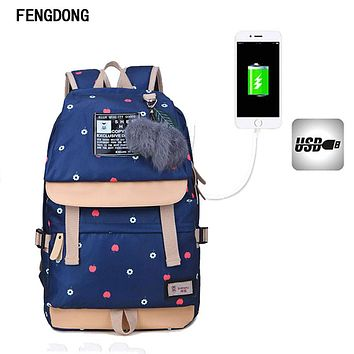 Fengdong Lightweight Canvas Bookbags Water Resistant School Backpacks Most Durable School Bag for Teenage Girls and kids