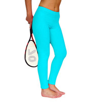 Turquoise blue Leggings Yoga Pants clothes Fuzzy Lycra fitness activewear