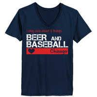 Chicago Cubs I Only Care About 2 Things Beer And Baseball - Ladies' V-Neck T-Shirt