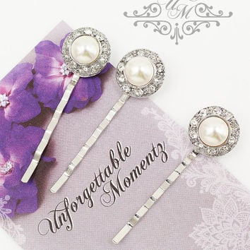 Set Swarovski Pearl hair pins Wedding Headpiece Wedding Hair pins Bridal hair pins Bridesmaids hair pins Rhinestone round pins - ORIANA
