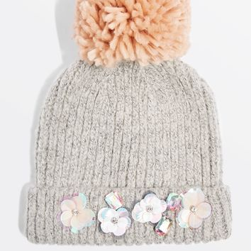 Embelished Pom Beanie - Hats - Bags & Accessories
