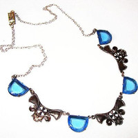 "Czech Bib Necklace Blue Art Glass Silver Metal Ribbons 19"" Vintage Art Nouveau"