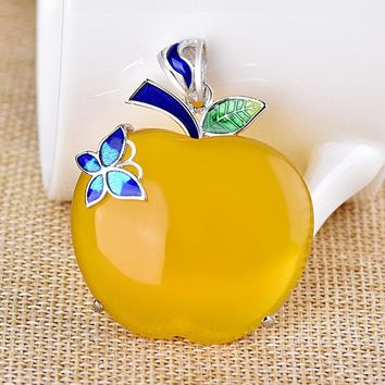 Cloisonne Butterfly Leaf Yellow Apple Natural Chalcedony 925 Pendant