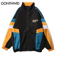 Trendy GONTHWID Vintage Color Block Patchwork Printed Track Jackets Men Casual Full Zip Up Windbreaker Coats Hip Hop Male Streetwear AT_94_13