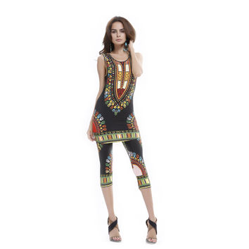 New 2017 Autumn Women Clothing Set Vintage African Tribal Print Elastic Sheath Tank Top and Pants 2 Piece Set Plus Size 60050