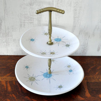 Vintage Franciscan Starburst Tiered Tray, Tid Bit Tray, Appetizer Server, Atomic Pattern