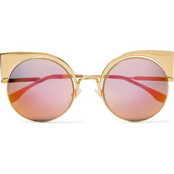Fendi - Eyeshine cat-eye gold-tone mirrored sunglasses