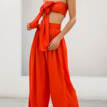 Indie XO In The Lead Orange Strapless Tie Front High Waist Palazzo Pants - 2 Colors Available