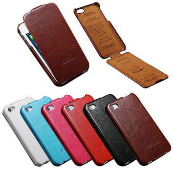 For iPhone 4S 4 4G Case Vintage Flip PU Leather Coque For iPhone 4 4S 4G Luxury Crazy Horse Skin FASHION Logo Phone Back Cover