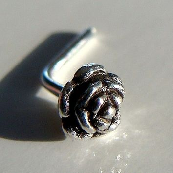 Tiny Rose Flower Sterling Silver Nose Stud Nose Piercing