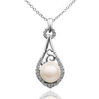 White Pearl Teardrop Necklace
