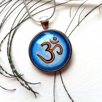 Om Necklace, Yoga Necklace, Ohm Pendant, Painted Pendant, Silver Om Jewelry Zen Necklace, Yoga Gift, Meditation Jewelry, Om Symbol for Women