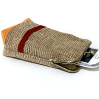 Smartphone Case / Fabric Cigarette Case with pocket inside - Upholstery fabric  - Antique Bronze Frame