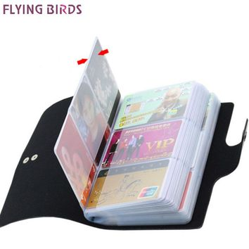 FLYING BIRDS women&men card holder name ID Business Card Holders High Quality Leather 156 Bank credit Card Case Hasp LM4358fb