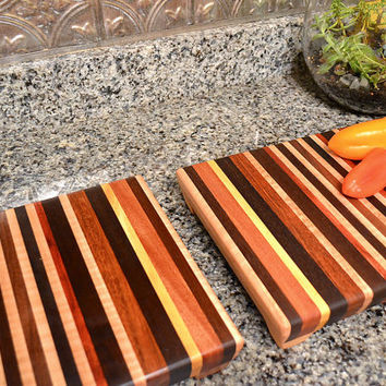 Two Handmade Medium Wood Cutting Boards - The Perfect Gift - Bloodwood, Yellowheart, Black Walnut, Flame Maple and Mahogany