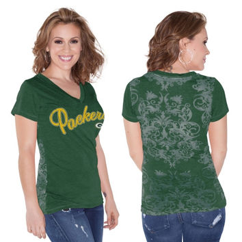 Green Bay Packers Touch by Alyssa Milano Women's Audrey V-Neck T-Shirt – Green