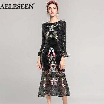 Luxury Sequined Dress Women 2018 Spring Fashion Flare Long Sleeve Lace Mid Flower OL Black Slim Embroidery Runway Sexy Dress
