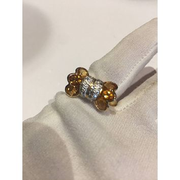 Vintage Handmade Golden Genuine Citrine 925 Sterling Silver gothic Ring