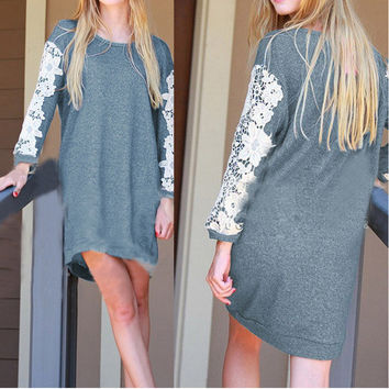 Gray Floral Lace Design Long Sleeve Dress