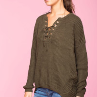 Cozy Lace Up Sweater