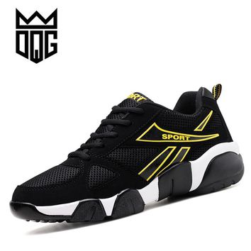 DQG Unisex Running Sneakers Summer Breathable Mesh Sport Shoes For Men Gym Shoes Outdoor Height Increasing Couples Running Shoes