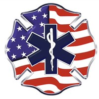 US Flag Maltese with Star of Life Decal