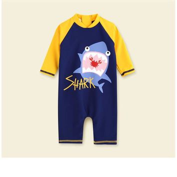 swimwear baby kids long sleeve blue fish baby boy swimwear suits one piece swimsuit baby swimsuit  bathing suits 80-130cm baby