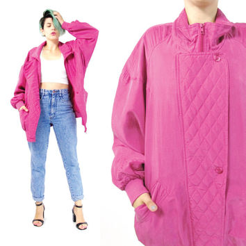 80s Pink Silk Bomber Jacket Zip Up Jacket Vintage Silk bomber Jacket Hip Hop Slouchy Quilted Jacket Bright Fuchsia Bomber Jacket (M/L/XL)