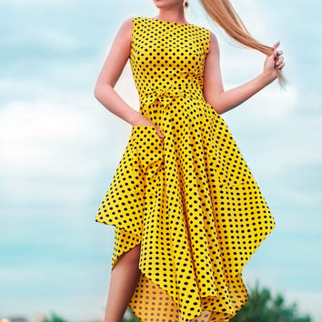 Yellow polka dot dress, Cotton dress, casual summer dresses, asymmetrical dress, Tea length dress, summer 2016, sun dress, sleeveless dress