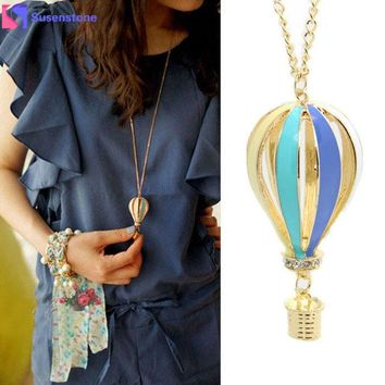 New Fashion Colorful Jewelry Aureate Drip Hot Air Balloon Pendant Long Necklace #2