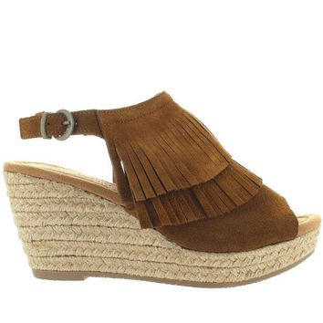 VONES2C Minnetonka Ashley - Dusty Brown Suede Double Front Fringe Espadrille Platform/Wedge Sandal
