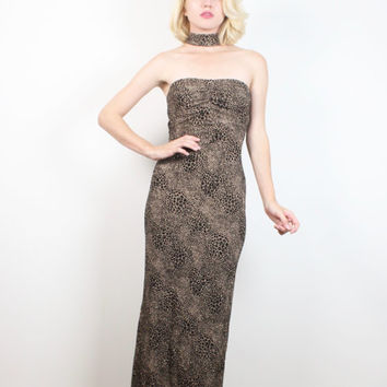 Vintage 1990s Leopard Print Gown Black Gold Glitter Sparkle Strapless Attached Choker Neck 90s Bodycon Raver Maxi Dress XS S Extra Small 3