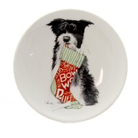 Tabletop CHRISTMAS PET TRINKET DISH Dog Bow Wow Puppy Xm2250a Stocking