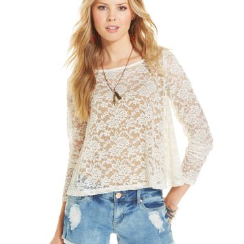 American Rag Long-Sleeve Lace Swing Top