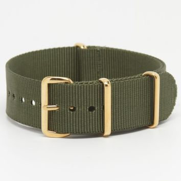 Olive Green Premium Strap in 20mm Nylon G10 MoD Military Watch Band
