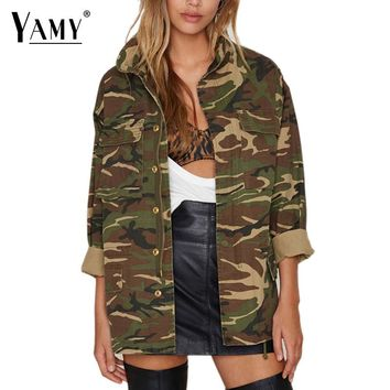 2017 Spring Street Fashion Army Green Camouflage Jacket Women Coats Military Outwear Casual Loose Casaco Feminino