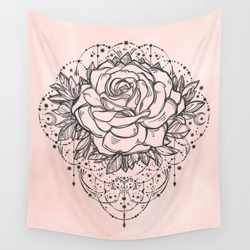 Night Rose Wall Tapestry by Nature Magick