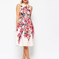 ASOS PETITE Vintage Floral Bardot Midi Prom Dress With Lace Up Back Detail