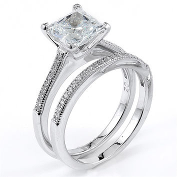 Sterling Silver Rhodium Plated and princess cut Cubic Zirconia Wedding Set