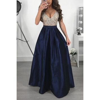 Plus Size Women Sexy V neck Sequins Formal Evening Ball Gown Dresses Party Dress