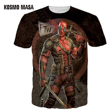 Clothing Deadpool T Shirt 3d T-Shirt Man Anime Hip Hop T Shirt Homme Men Slim Superman T Shirts One Piece