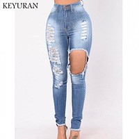 Women's Jeans Cotton Elastic Ripped Hole Jeans Denim Skinny Distressed Jeans