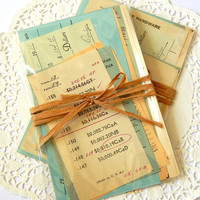 Vintage Receipt Pack. Ephemera Pack. Office Paper. Ledger Paper. Old Receipts. Junk Journal Paper. Mixed Media Supply. Decoupage Paper.